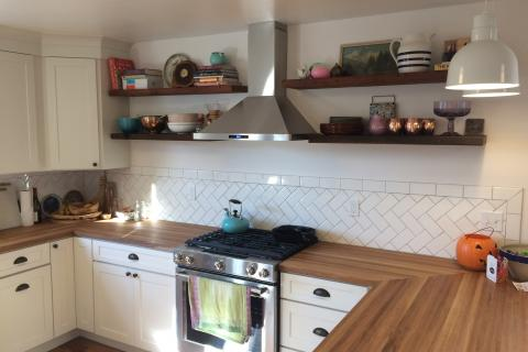 Butcher Block Counter tops With White Shaker Kitchen Cabinets Remodel Eureka Arcata Curb Appeal Construction Floating Shelves
