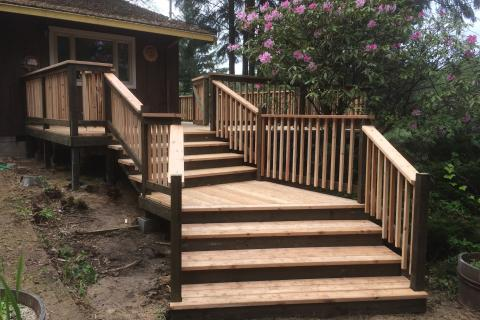 Cedar Deck Stairs Curb Appeal Construction Eureka Ca