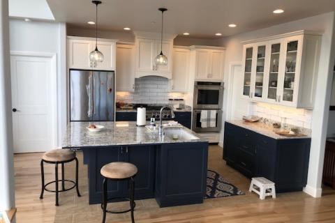 Curb Appeal Construction New Kitchen with Custom Island With Sink Multi Color Cabinets