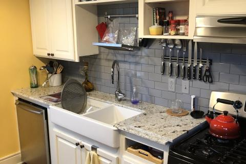 Gray Subway Tile Kitchen Remodel Curb Appeal Construction Farm Sink