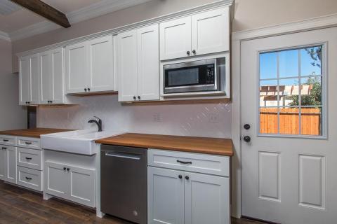 Kitchen Remodel White Shaker Curb Appeal Construction Subway Tile back splash Eureka Ca