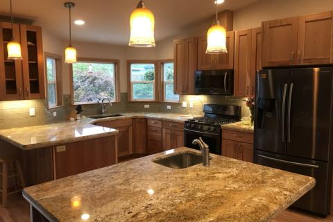 Open Concept Kitchen Remodel Island Canned lights Shaker Curb Appeal Construction Eureka Ca
