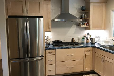 Remodel Kitchen Shaker Hardwood Cabinets Sub Way Tile Curb Appeal Construction