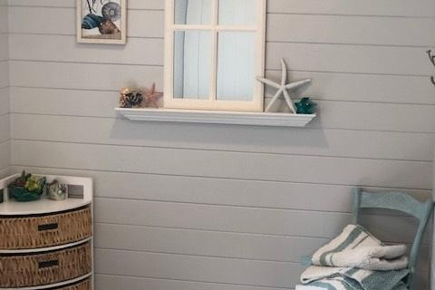 Ship Lap Siding Accent wall in Bathroom remodel Curb Appeal Construction