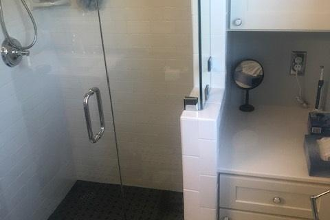 Walk In Shower With Pony Wall Glass Door Subway Tile