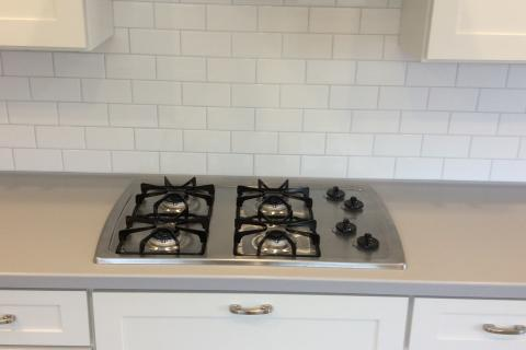 White Shaker Kitchen Cabinet Remodel Eureka Ca Curb Appeal Construction Stove Top